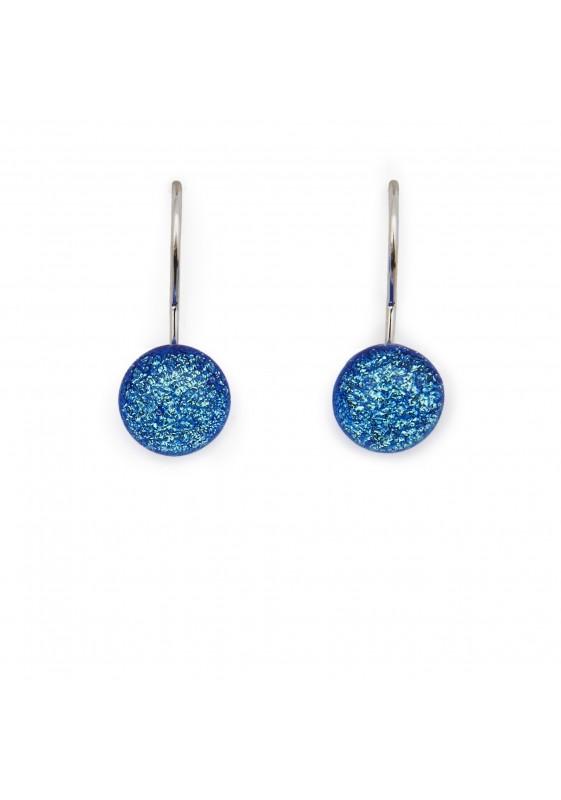 Boucle d'oreille crochet bleu
