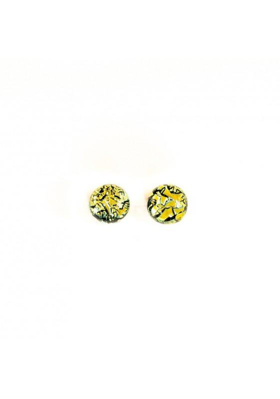 Big yellow dichroic earring