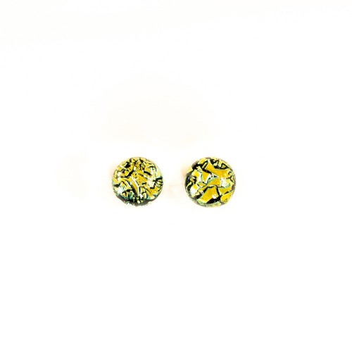 Small yellow dichroic earring