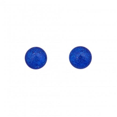Grande boucle d'oreille dichroïque bleu foncé