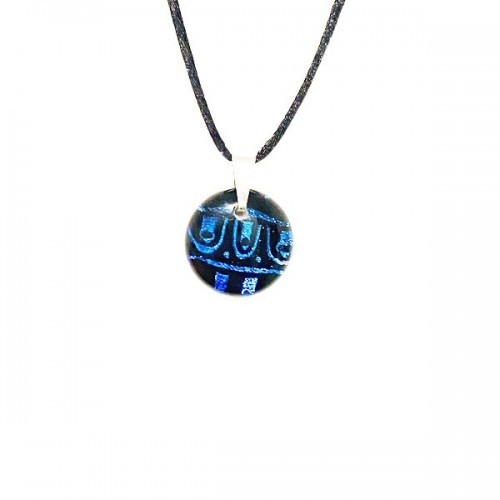 Petit pendentif Dichroic bleu