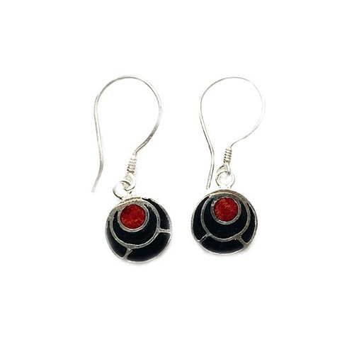 Lava and Coral Earrings PE011