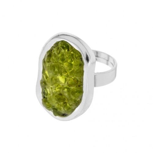 Anello regolabile in olivina AN141